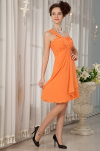 Orange A-line / Pricess One Shoulder Mini-length Chiffon Ruch Dama Dresses for Quinceanera