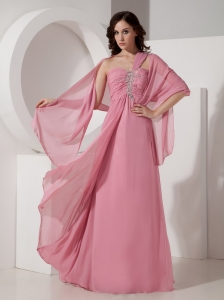 Pink Empire One Shoulder Floor-length Chiffon Beading Quinceanera Dama Dresses