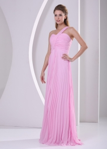 Pink One Shoulder Pleat Chiffon Empire Brush Train Quinceanera Dama Dresses