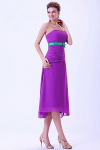 Purple Chiffon Green Belt Column Dama Dress Tea-length