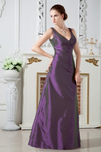 Purple Column V-neck Floor-length Taffeta Ruch Dama Dresses for Quinceanera