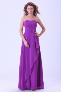 Purple Dama Dress Strapless Chiffon Floor-length