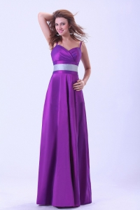 Purple Dama Dress With Belt Spaghetti Straps Floor-length