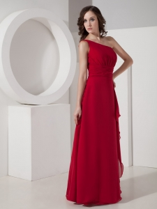 Red Empire One Shoulder Floor-length Chiffon Quinceanera Dama Dresses