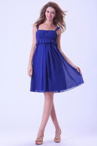 Royal Blue Dama Dress With Straps Knee-length Chiffon For Custom Made