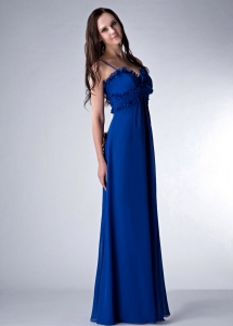 Royal Blue Empire Straps Floor-length Chiffon Dama Dress