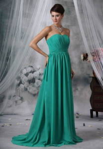 Ruched Decorate Bodice Brush Train Turquoise Blue Chiffon Strapless Quinceanera Dama Dresses For 2013
