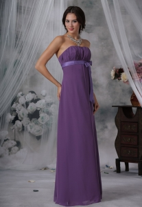 Ruched and Bowknot Decorate Bust Purple Chiffon Floor-length Strapless For 2013 Quinceanera Dama Dresses