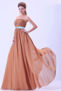 Rust Red Dama Dress With Blue Belt and Ruching Chiffon Floor-length
