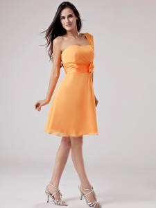 Simple Orange Red One Shoulder 2013 Dama Dress With Sash and Ruch Chiffon