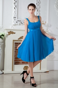 Teal Empire Straps Knee-length Chiffon Ruch Dama Dresses for Quinceanera