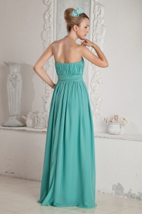 Turquoise Empire Sweetheart Floor-length Chiffon Ruch and ...