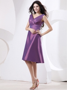 V-neck Purple Dama Dress With Knee-length and Bow