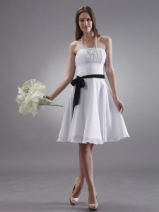 White Dama Dress With Black Sash Knee-length Chiffon