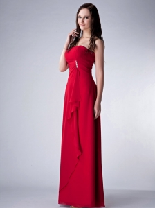 Wine Red Column Strapless Floor-length Chiffon Beading Dama Dress