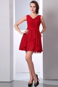 Wine Red Empire V-neck Mini-length Chiffon Ruch Dama Dresses for Quinceanera
