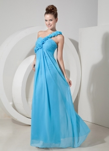 Aqua Blue Empire One Shoulder Floor-length Chiffon Hand Made Flowers Dama Dress