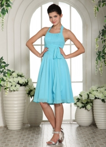 Aqua Blue Halter Sash Chiffon Dama Dress Knee-length