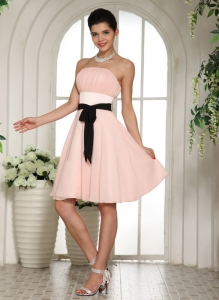 Baby Pink Dama Dress With Black Sash Knee-length