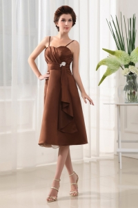 Beading A-Line Spaghetti Straps Chiffon Brown Tea-length Dama Dress