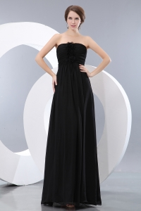 Black Empire Strapless Floor-length Chiffon Hand Made Flowers Dama Dresses for Quinceanera
