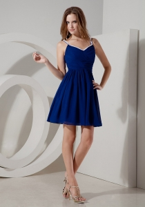 Blue A-line Spaghetti Straps Mini-length Chiffon Ruch Dama Dresses for Quinceanera