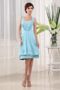 Halter A-Line Knee-length Taffeta Light Blue 2013 Dama Dress