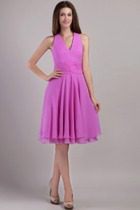 Lavender Empire Halter Top Knee-length Chiffon Quinceanera Dama Dresses