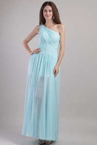 Light Blue Empire One Shoulder Ankle-length Chiffon Ruch Quinceanera Dama Dresses