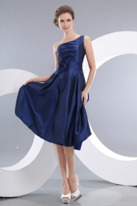 Navy Blue Empire One Shoulder Knee-length Taffeta Hand Made Flowers Dama Dresses for Quinceanera