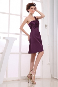 One Shoulder Neckline Purple Knee-length Dama Dress