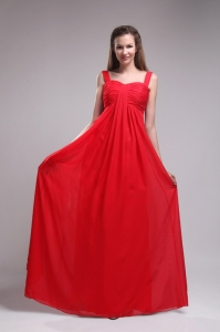 Red Empire Straps Floor-length Chiffon Ruch Dama Dress