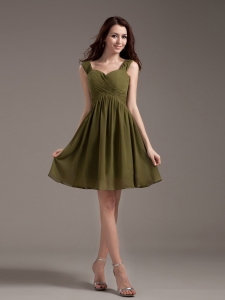 Straps Knee-length Olive Green Chiffon 2013 Dama Dress