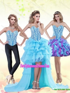 Aqua Blue High Low 2015 Dama Dresses with Beading and Ruffles