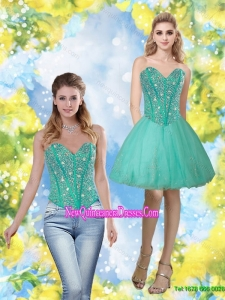 Cheap 2015 Beading and Appliques Sweetheart Prom Dress in Turquoise