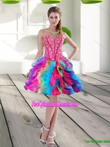Cheap Beading and Ruffles Organza 2015 Prom Dress in Multi Color