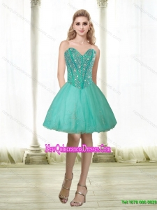 Elegant 2015 Beading and Appliques Sweetheart Dama Dresses in Turquoise