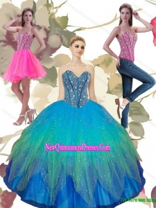 2015 Classical Beading Sweetheart Tulle Quinceanera Dresses in Turquoise