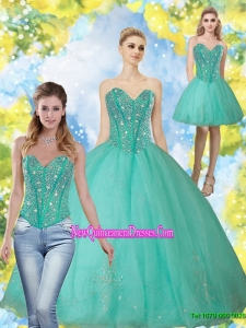 2015 Custom Made Beading and Appliques Turquoise Sweetheart Quinceanera Dresses