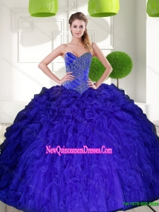 Custom Made Peacock Blue Sweetheart Beading Ball Gown Quinceanera Dress with Ruffles