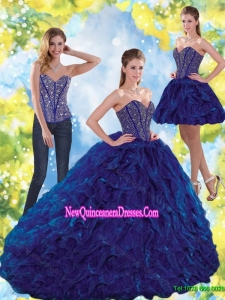 Elegant Beading and Ruffles Sweetheart Ball Gown Quinceanera Dresses for 2015