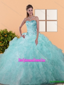 Fashionable Beading and Ruffles Ball Gown Quinceanera Dresses for 2015