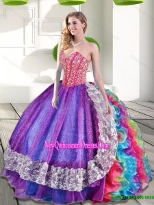 Fashionable Sweetheart Beading and Ruffles 2015 Quinceanera Dresses in Multi Color