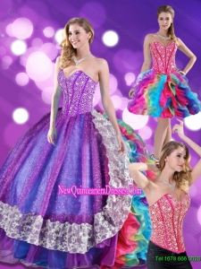 2015 Top Seller Beading and Ruffles Sweetheart Quinceanera Dresses in Multi Color