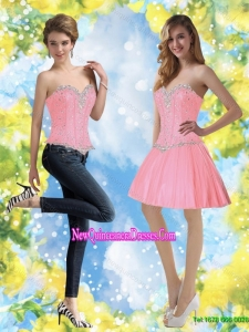 Cheap Baby Pink DamasDress with Beading for 2015