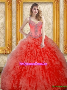 Modern Beading and Ruffles Coral Red 2015 Quinceanera Dress