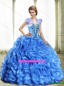 Modest Royal Blue 2015 Quinceanera Dresses with Beading and Ruffles