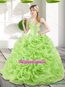 Remarkable Beading and Rolling Flowers Spring Green 2015 Quinceanera Dresses