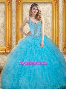 New Style Beading Dress for Quinceanera in Aqua Blue