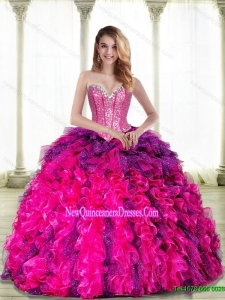 New Style Multi Color Sweetheart 2015 Quinceanera Dresses with Beading and Ruffles